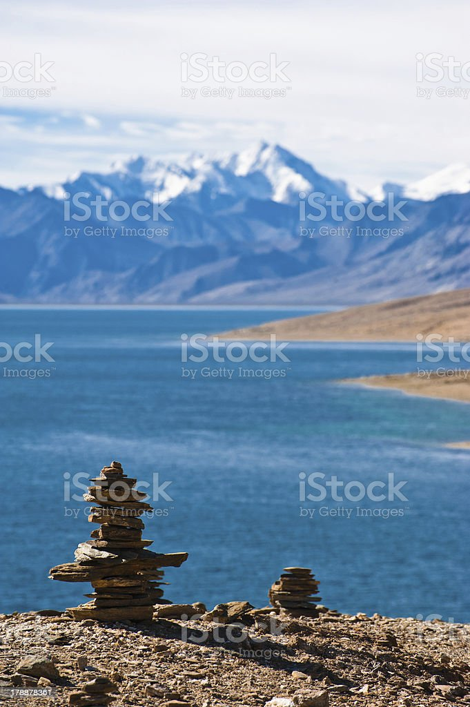 Buddhist stone pyramid at morning Tso Moriri Lake stock photo