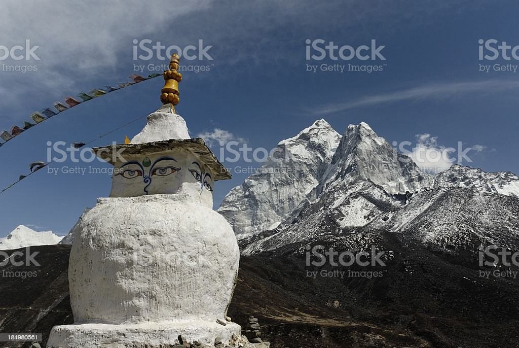 buddhist stupa and mountain royalty-free stock photo