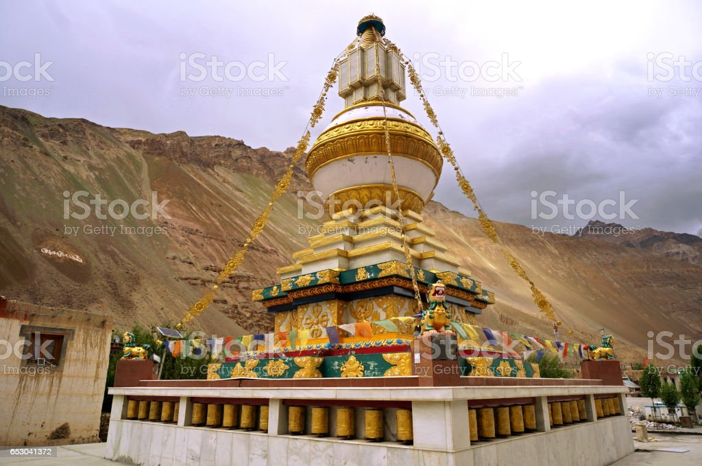 Buddhist Stupa at the Ancient Monastery of Tabo in Spiti Valley in the Himalayas stock photo
