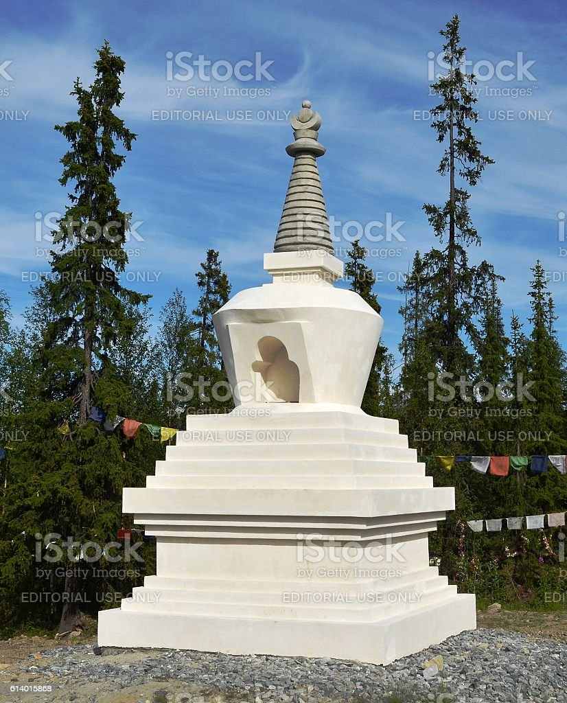 Buddhist Stupa Enlightenment, mounted on car track Murmansk - Petersburg stock photo