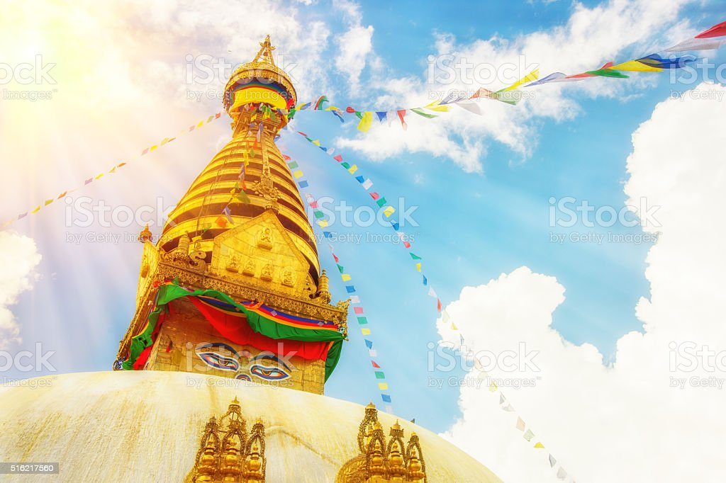 Buddhist Stupa in Kathmandu, Nepal. stock photo