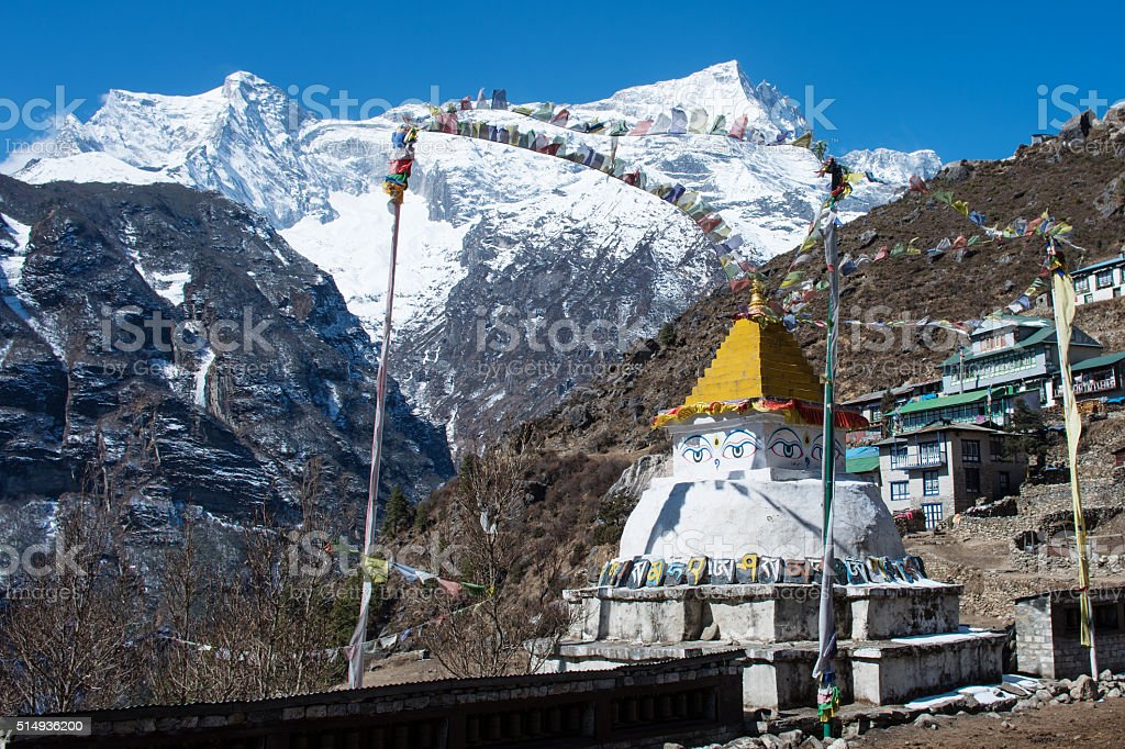Buddhist stupa in Namche Bazar, Everest region, Nepal stock photo