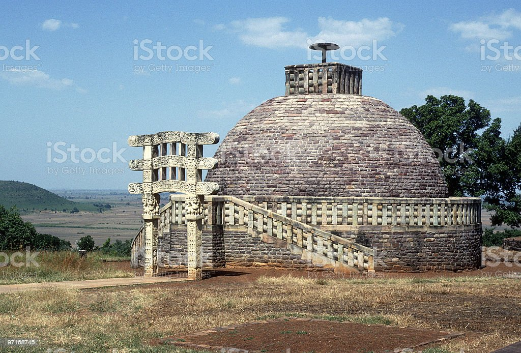 Buddhist stupa in Sanchi, India royalty-free stock photo