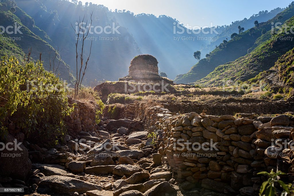 Buddhist Stupa in Swat,Pakistan stock photo