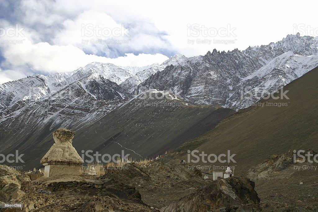 Buddhist stupa in the Himalayas (Ladakh, Kashmir, India) royalty-free stock photo