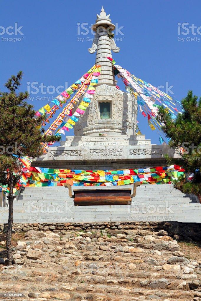 Buddhist stupa near Wusutuzhao Temple, Daqing Mountain, Inner Mongolia, China stock photo
