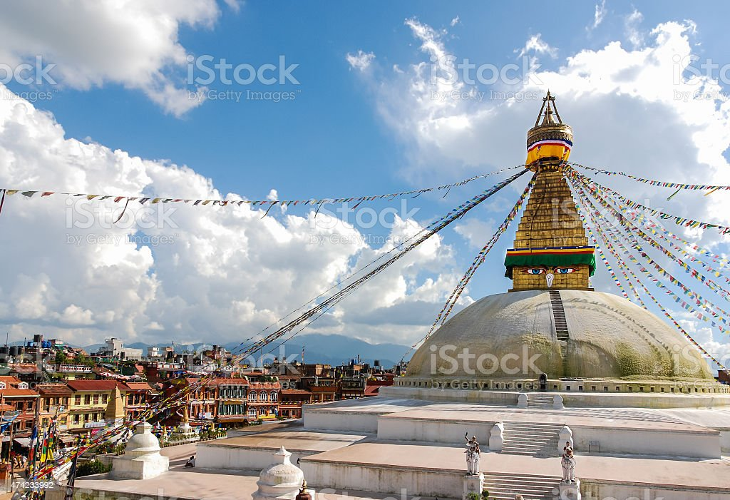Buddhist stupa of Bodunath, Kathmandu, Nepal stock photo