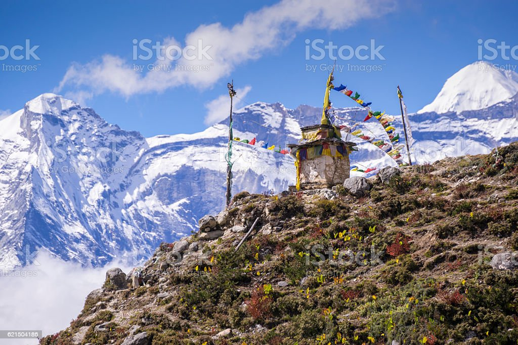 Buddhist stupa on the way to EBC, Nepal stock photo