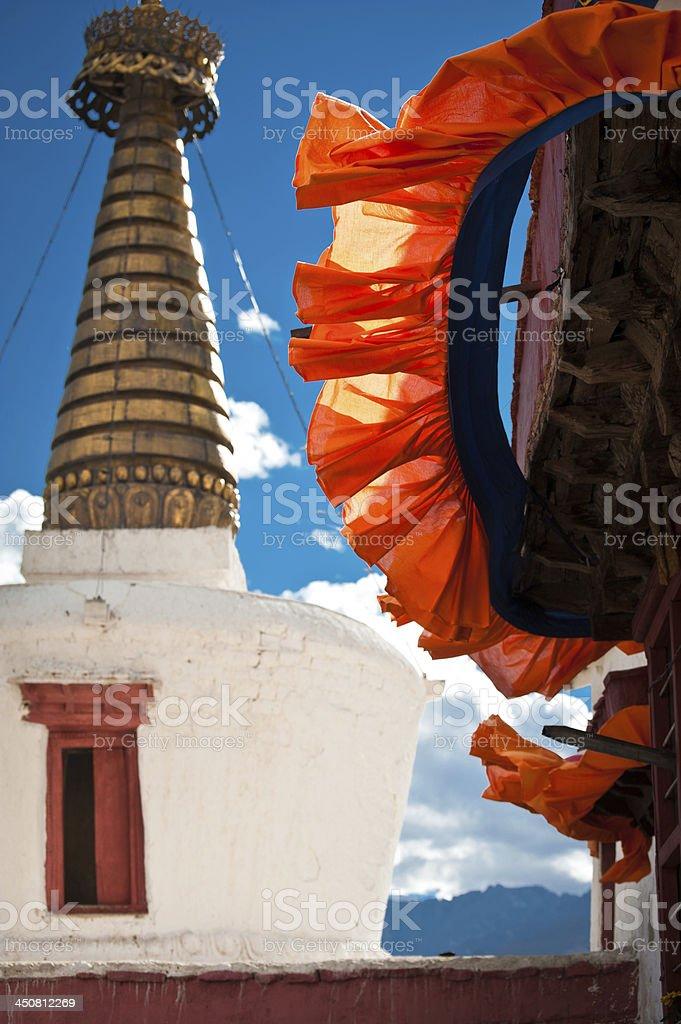 Buddhist stupa ( chorten ) over blue sky stock photo