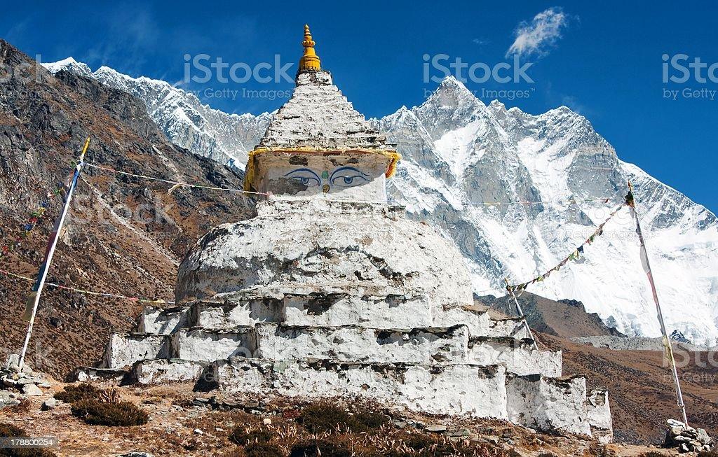 buddhist stupa with mount Lhotse royalty-free stock photo