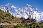 Buddhist stupa with mountain Lhotse behind.