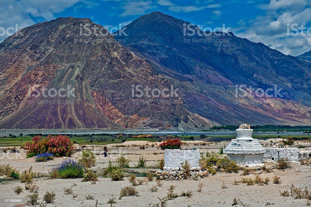 Buddhist Stupas in Nubra Valley Ladakh India royalty-free stock photo