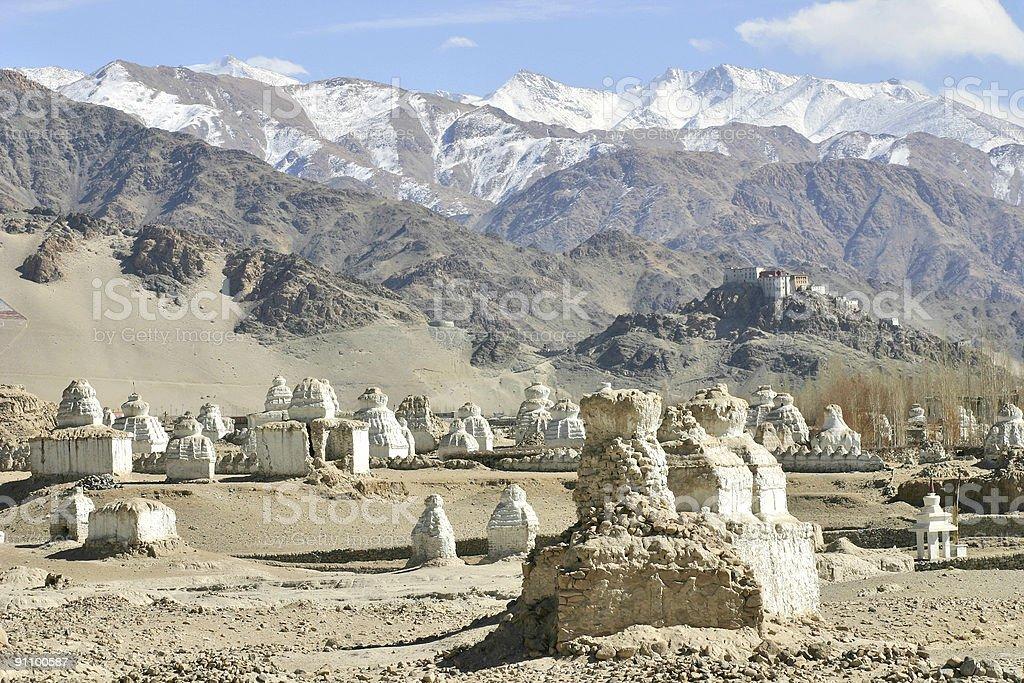 Buddhist stupas in the Himalayas royalty-free stock photo