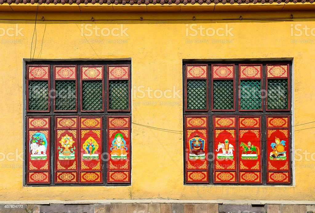 Buddhist sujets as window decoration stock photo