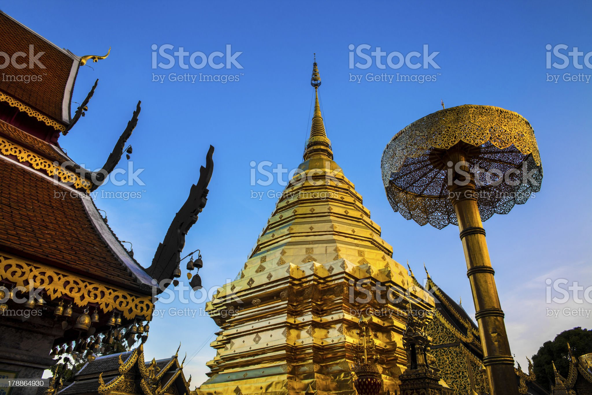 Buddhist Temple (Wat Phra That Doi Suthep), Chiang Mai, Thailand. royalty-free stock photo