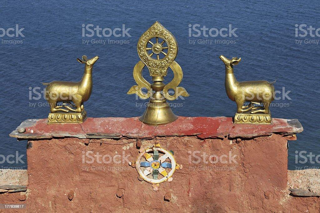 Buddhist temple decoration stock photo