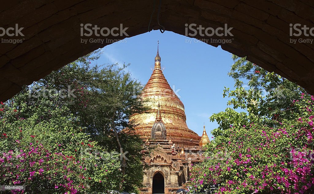 Buddhist temple, Dhammayazika Pagoda, Bagan, Myanmar(Burma). stock photo