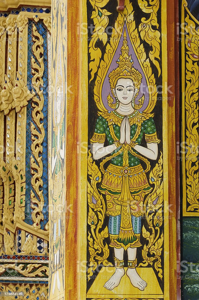 Buddhist temple doors detail stock photo
