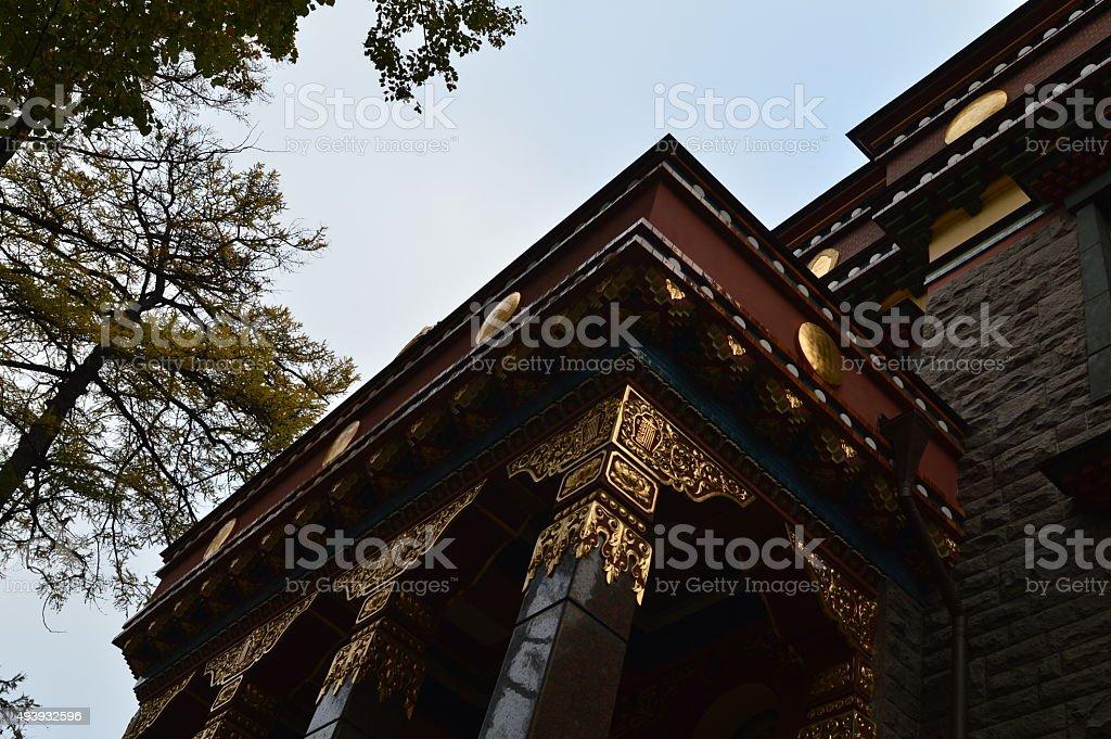 Buddhist temple exterior architecture entrance stock photo
