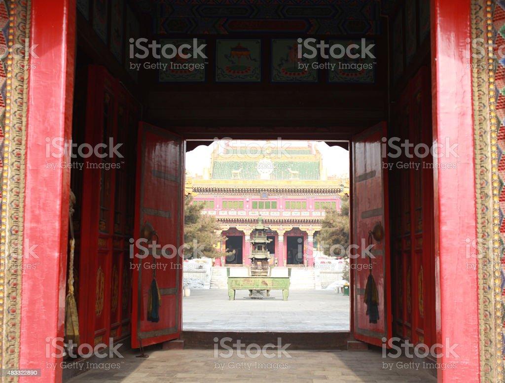 Buddhist temple gates in China stock photo
