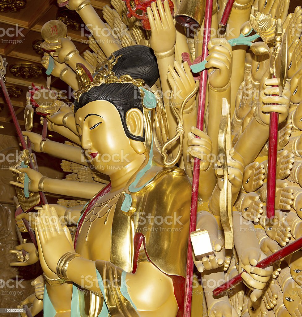 Buddhist Temple. Golden statue of Buddha-- southern Xian , China stock photo