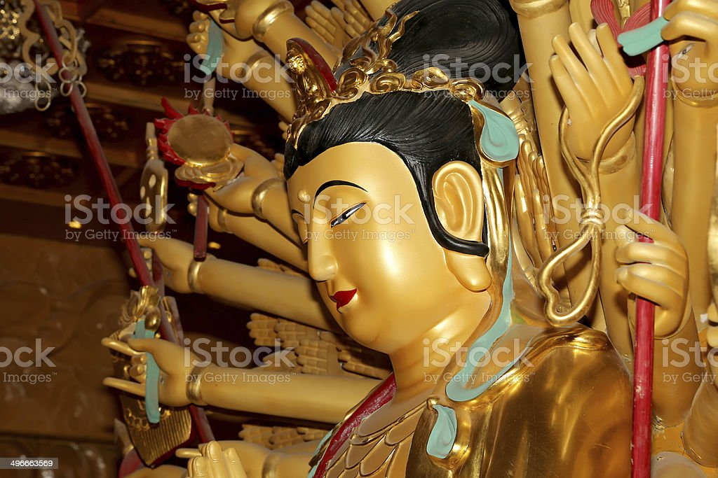 Buddhist Temple. Golden statue of Buddha--  Xian (Sian, Xi'an), China stock photo