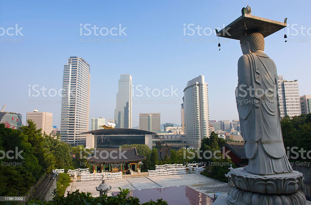 Buddhist Temple in City stock photo