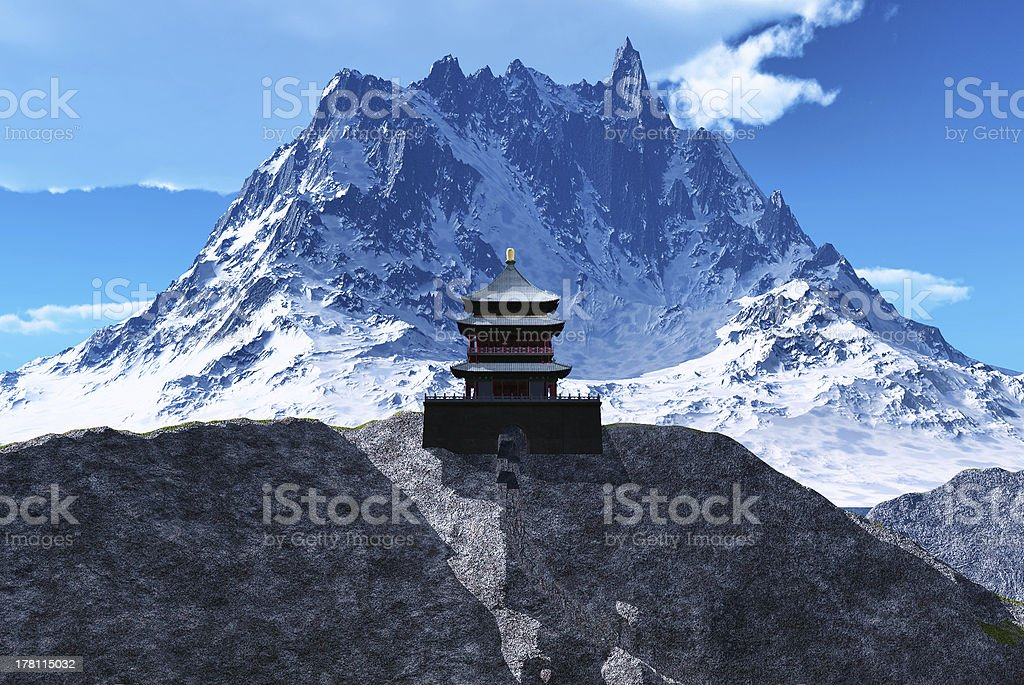 Buddhist temple in mountains stock photo