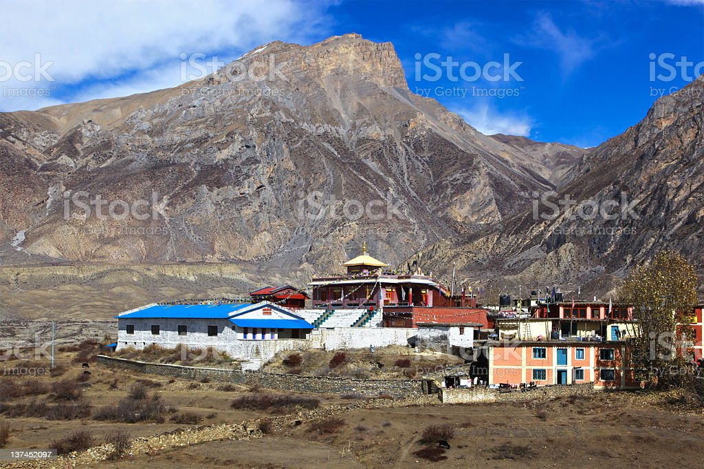 Buddhist temple in Muktinath royalty-free stock photo