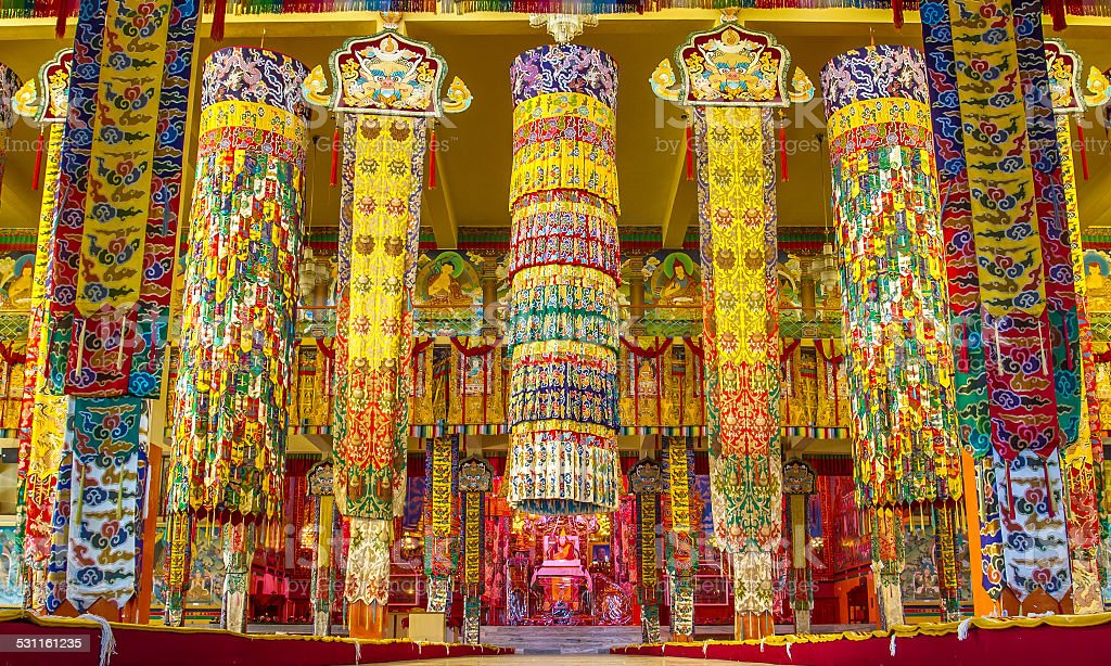 Buddhist temple in Namdroling Monastery in Bylakuppe stock photo