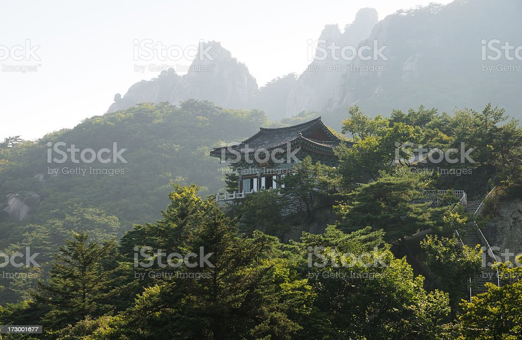 A Buddhist temple in the Forrest in Korea stock photo