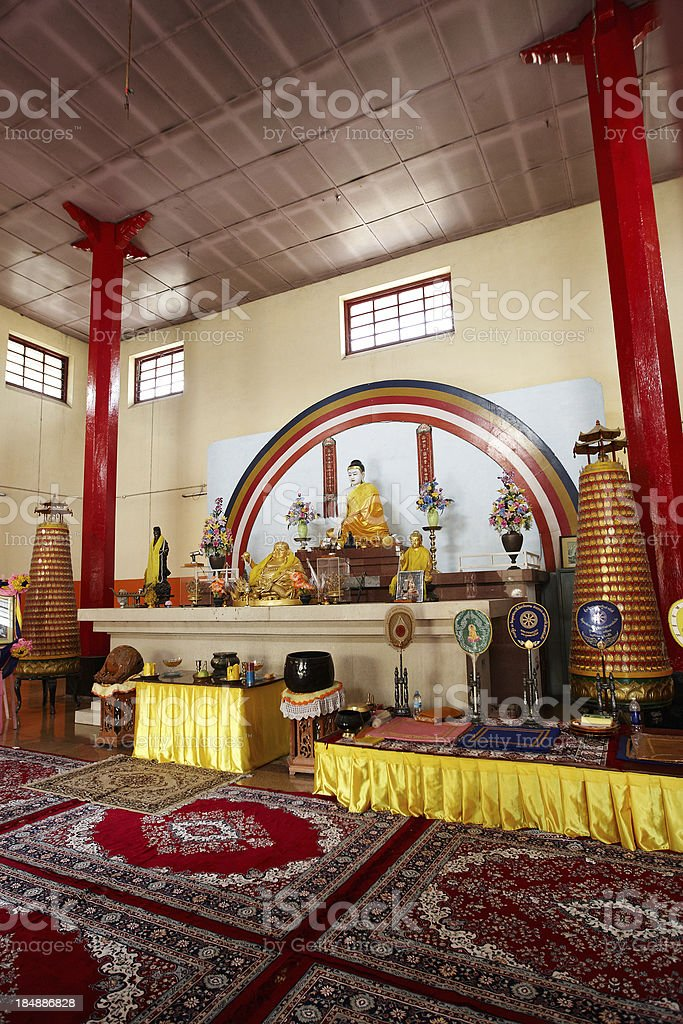 Buddhist temple interior in Varanasi royalty-free stock photo