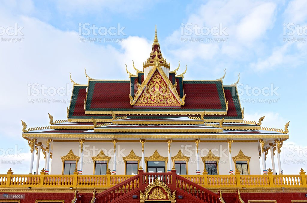 Buddhist Temple Facade and Entrance stock photo