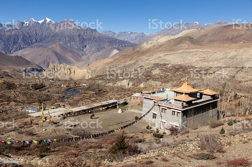 Buddhist temple of Muktinath lower Mustang, Nepal stock photo