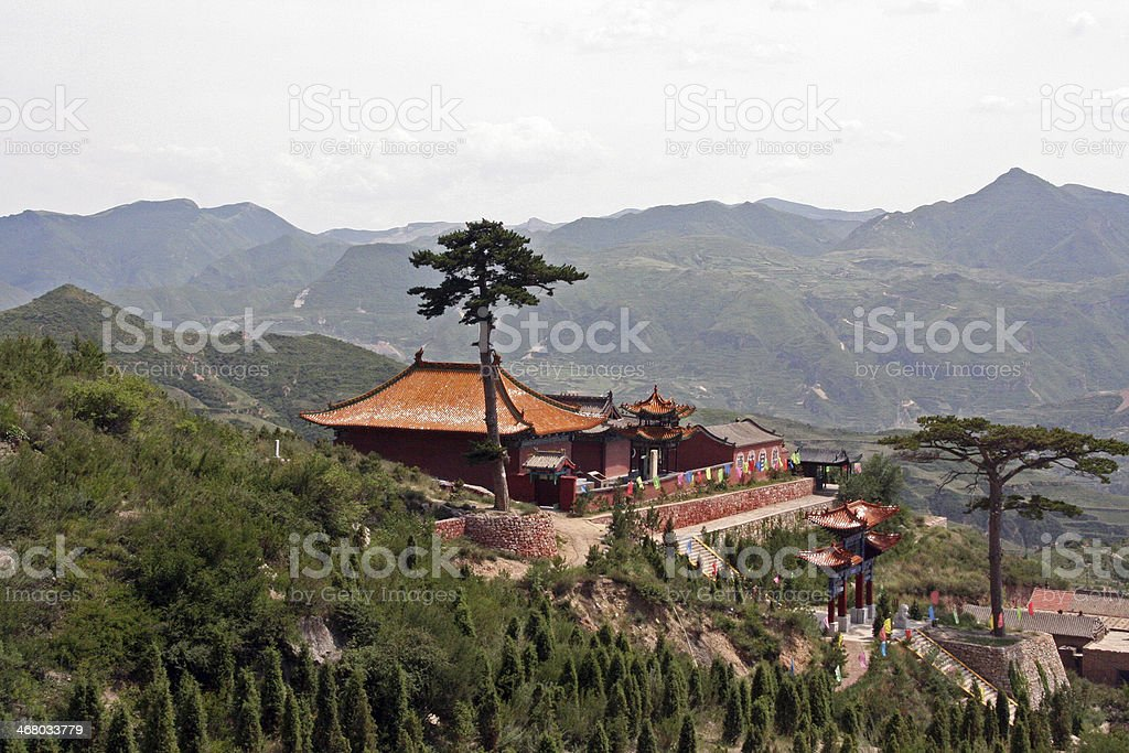 Buddhist temple overlooking mountains in North China, near Daton stock photo