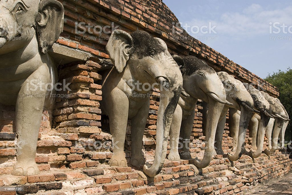 Buddhist temple ruins stock photo