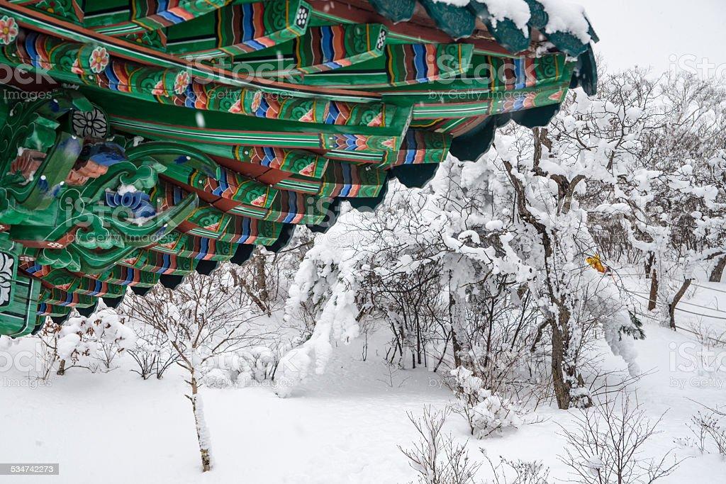 Mnich temple scenerią w zimie zbiór zdjęć royalty-free