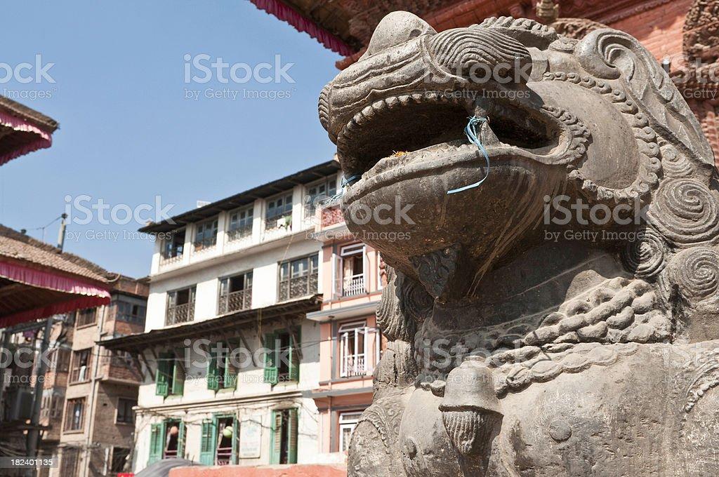 Buddhist temple shrine lion statue Kathmandu Durbar Square Nepal royalty-free stock photo