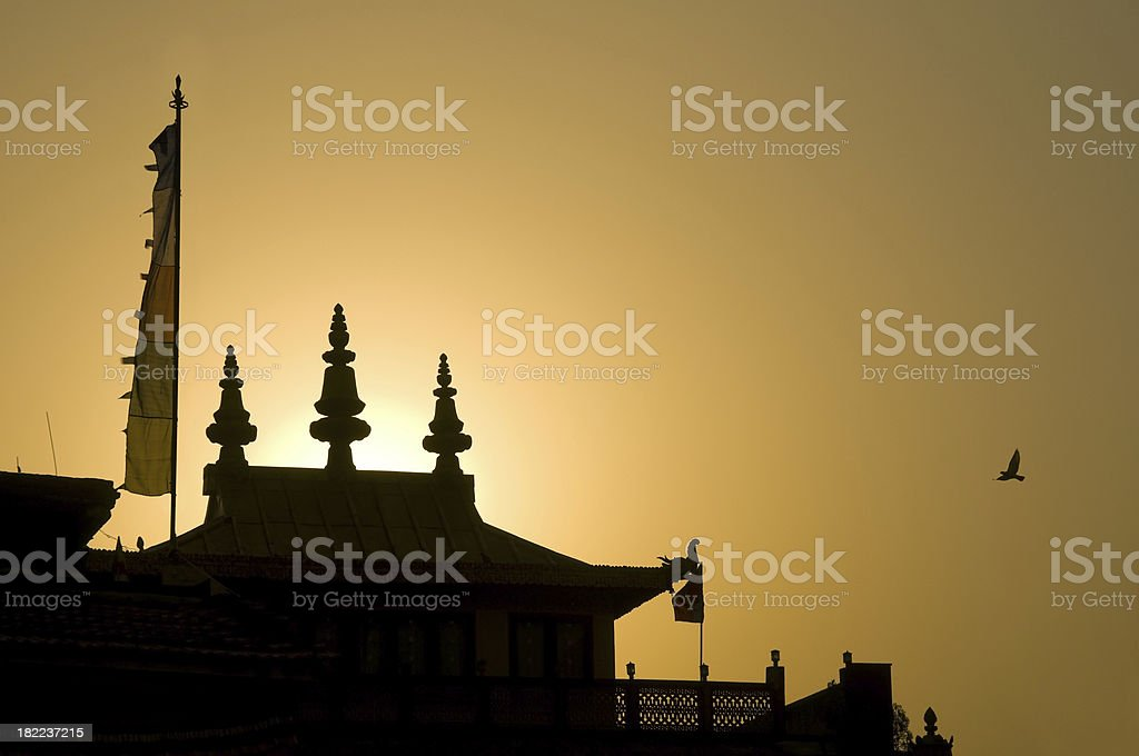 Buddhist temple silhouette royalty-free stock photo