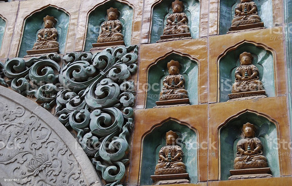 Buddhist Temple Wall Detail royalty-free stock photo