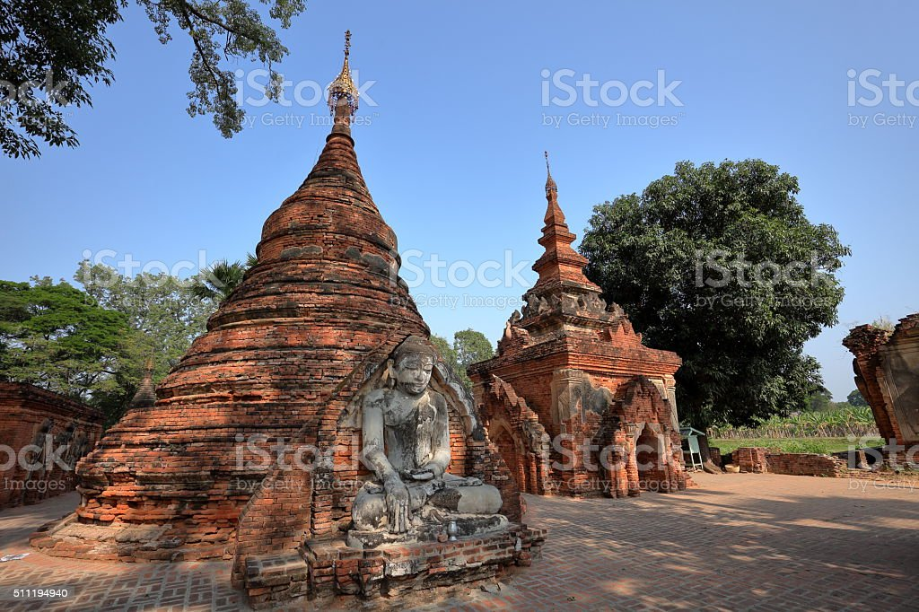 Buddhist temples of Ava in Myanmar stock photo