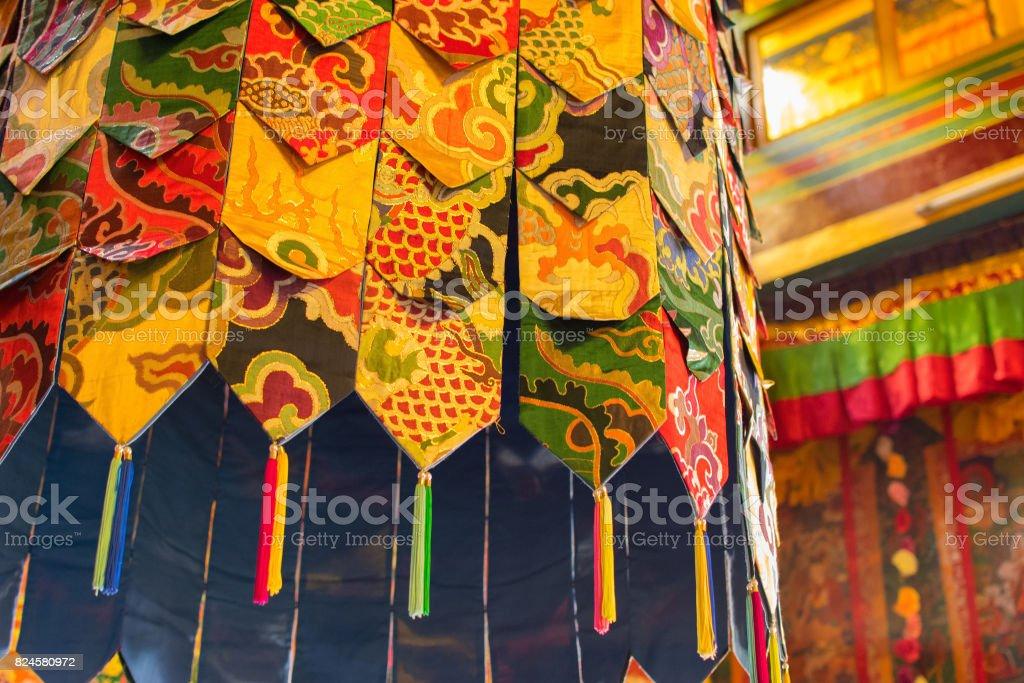 Buddhist thangka - at Ralong, Sikkim, India stock photo