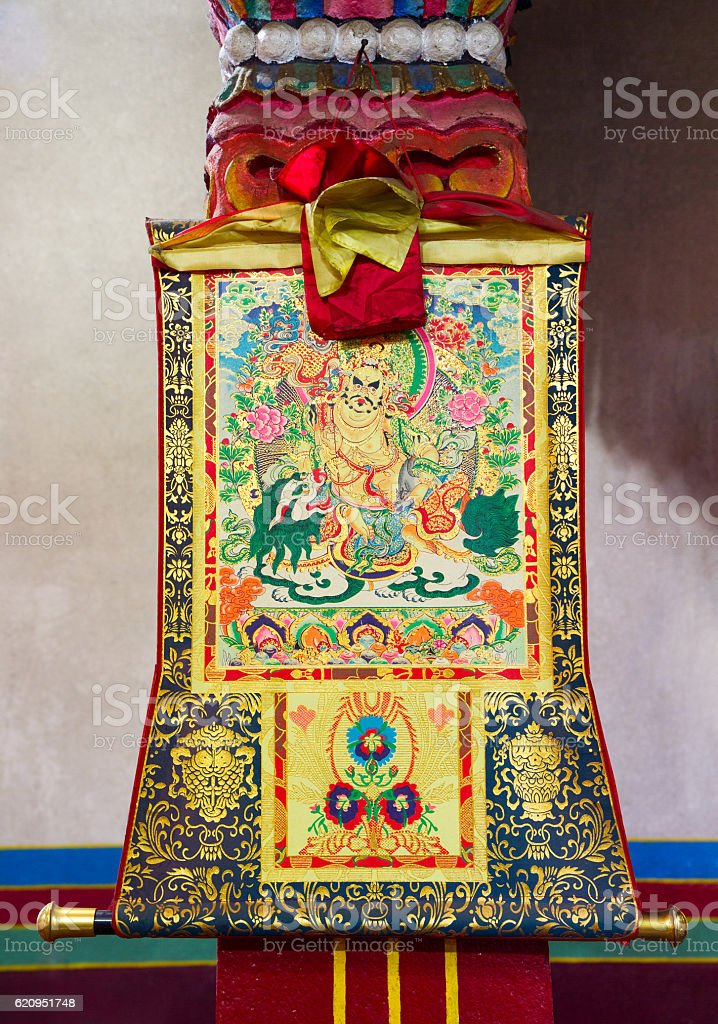 Buddhist thangka, Tibetan Buddhist painting or applique on textile stock photo