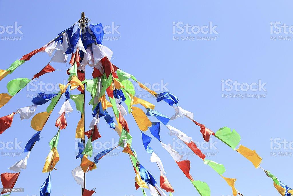 Buddhist tibetan prayer flags stock photo