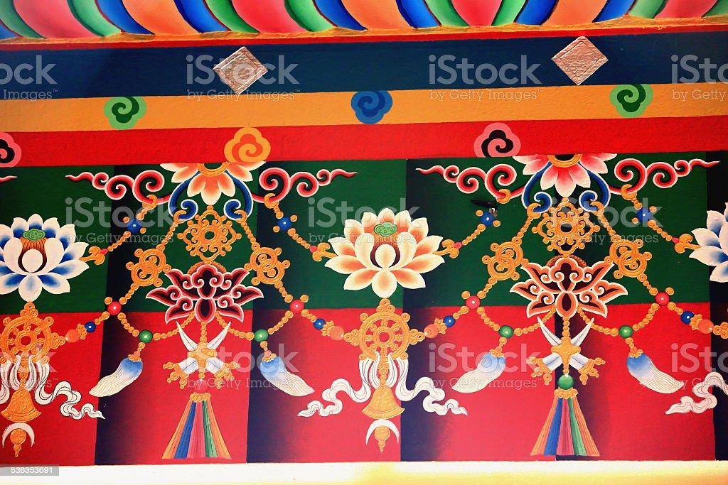 Buddhist wall decoration. Thrangu Tashi Yangtse Monastery-Nepal. 0985 stock photo