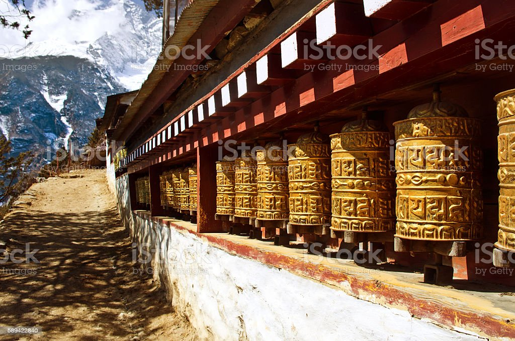 Buddhist wheels in Namche Bazar. Everest region, Nepal stock photo