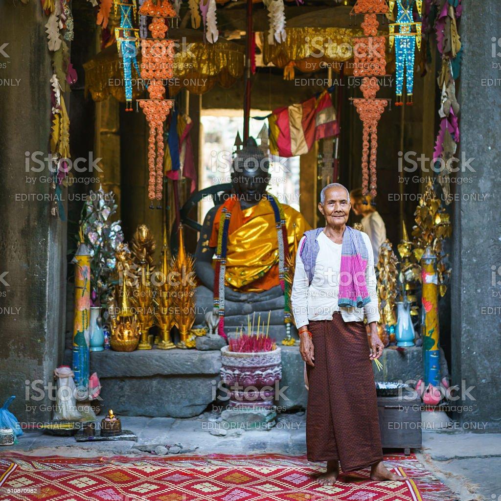 Buddhist Woman Banteay Kdei Temple Buddha Cambodia stock photo