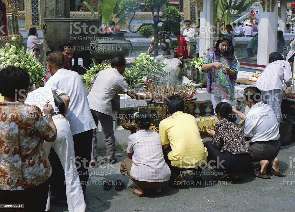 Buddhist worshipers royalty-free stock photo