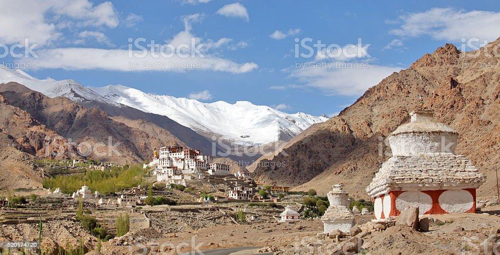 Buddhistic stupas  with Likir monastery in background stock photo