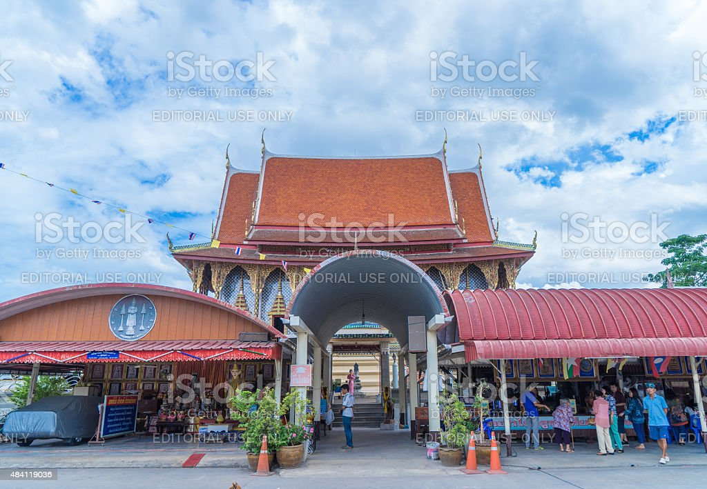 Buddhists are gathering at a Temple for Sunday Prayers. stock photo